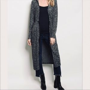 Marled hooded ribbed duster cardigan sweater